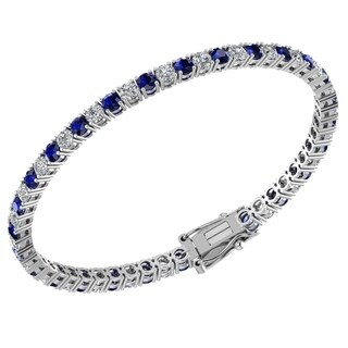 Sterling Silver 4.57 CTTW 3mm Created Blue Sapphires and White Topaz Bracelet
