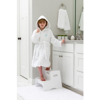 Sweet Kids Turkish Cotton Terry White with Aqua Blue Script Monogram Hooded Bathrobe