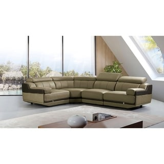 American Eagle Light Gray Italian Leather Two-tone Sectional