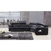 American Eagle Black Top-grain Italian Leather Upholstered Sectional