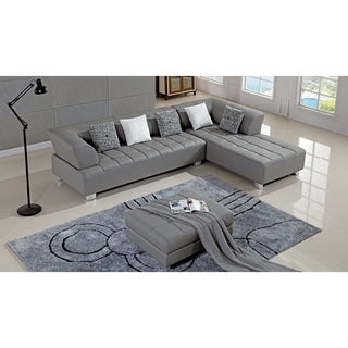 American Eagle Grey Bonded Leather Living Room Sectional with Ottoman