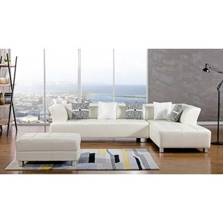 American Eagle Ivory Bonded Leather Living Room Sectional with Ottoman