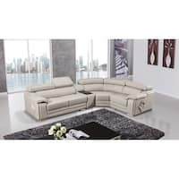 American Eagle Light Grey Italian Leather Upholstered Sectional