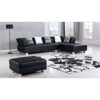 American Eagle Black Bonded Leather Living Room Sectional with Ottoman