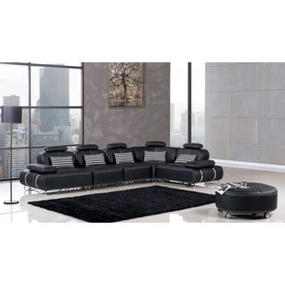 American Eagle Bonded Leather Modern Sectional with Pillows (6-piece)