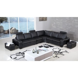 American Eagle Black Bonded Leather 6-piece Living Room Sectional with Ottomans