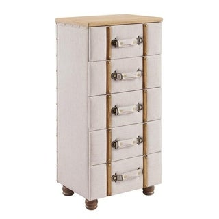 Susie Five Drawer Padded Chest Cabinet - Beige