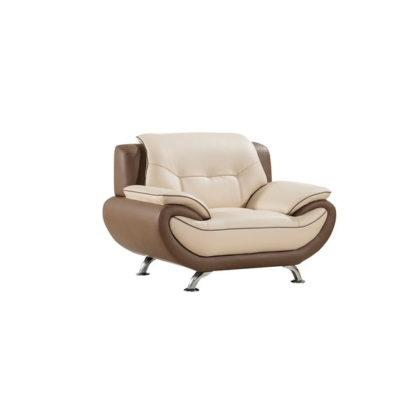 American Eagle Cream /Taupe Genuine Leather Two-tone Modern Chair