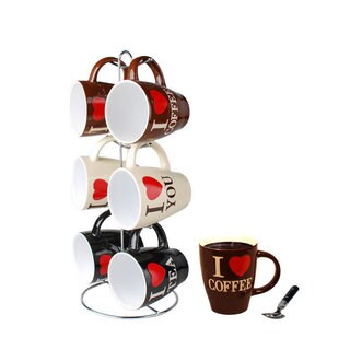 Home Basics 6 Piece Mug Set with Stand