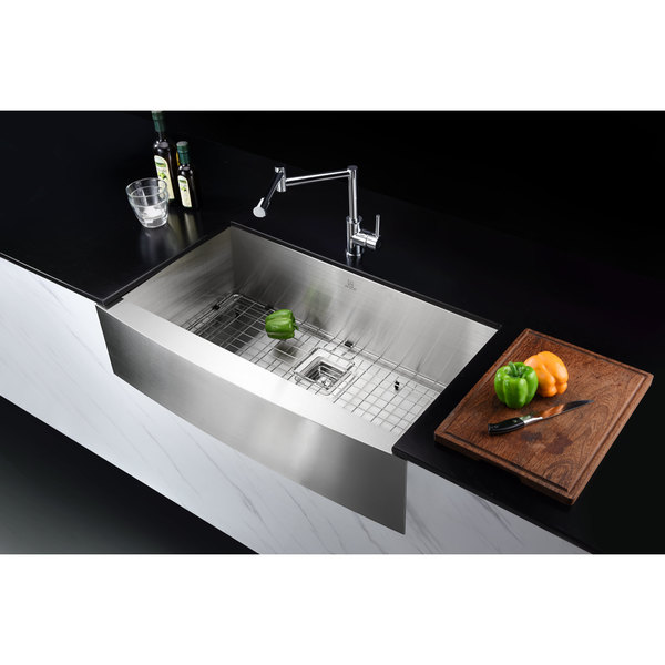 Elysian 32 Inch Farmhouse Single Basin Stainless Steel Kitchen Sink In Brushed Satin