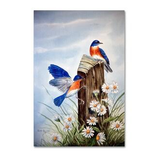 Arie Reinhardt Taylor 'Bluebirds With Daisies 2' Canvas Art