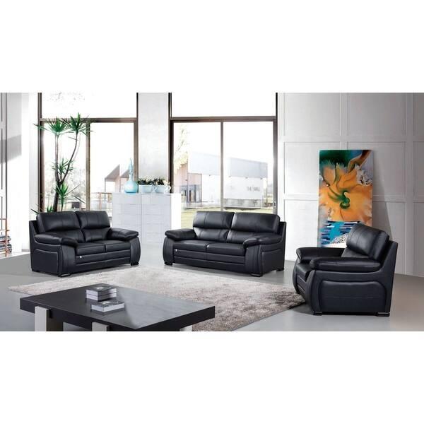 American Eagle Contemporary Black Italian Top-Grain Leather Sofa