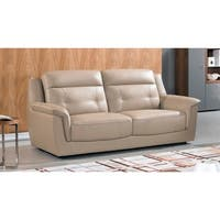 American Eagle Contemporary Tan Italian Top-Grain Leather Sofa