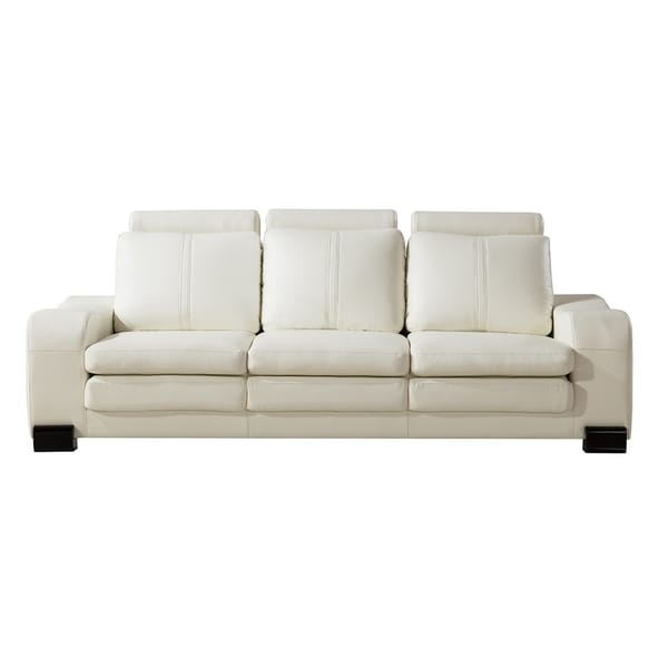 Charmant American Eagle Modern Ivory Bonded Leather Sofa With Ottoman