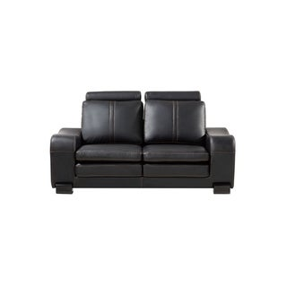 American Eagle Modern Black Bonded Leather Loveseat with Ottoman