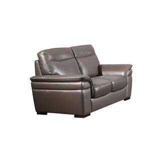 American Eagle Taupe Italian Top-grain Leather Contemporary Loveseat