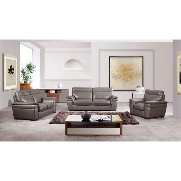 American Eagle Contemporary Taupe Italian Top-Grain Leather Sofa