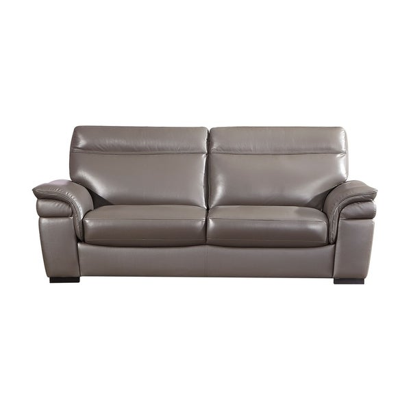 American Eagle Contemporary Taupe Italian Top Grain Leather Sofa