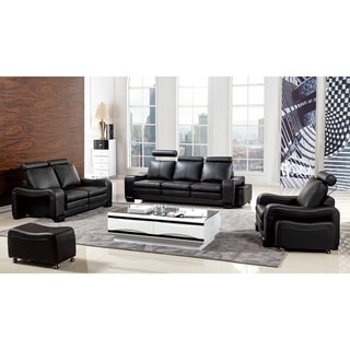 American Eagle Modern Black Bonded Leather Sofa With Ottoman