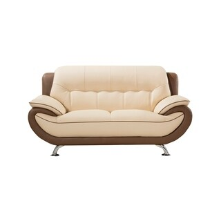 American Eagle Modern Style Cream and Taupe Genuine Leather Loveseat