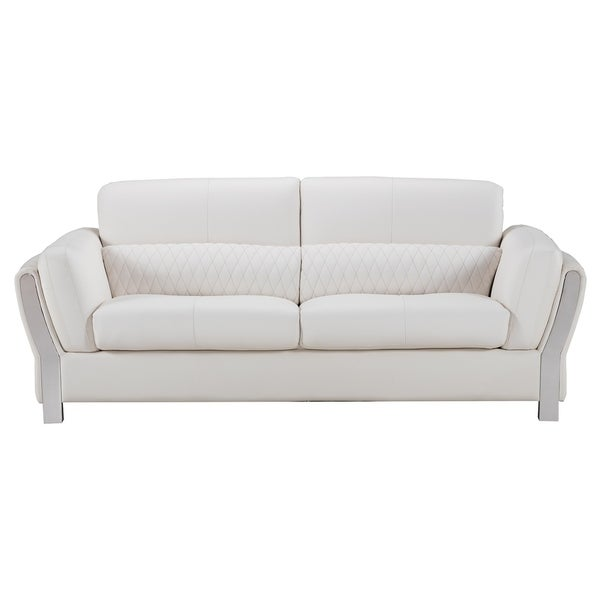 American Eagle Modern White Microfiber Leather Living Room Sofa