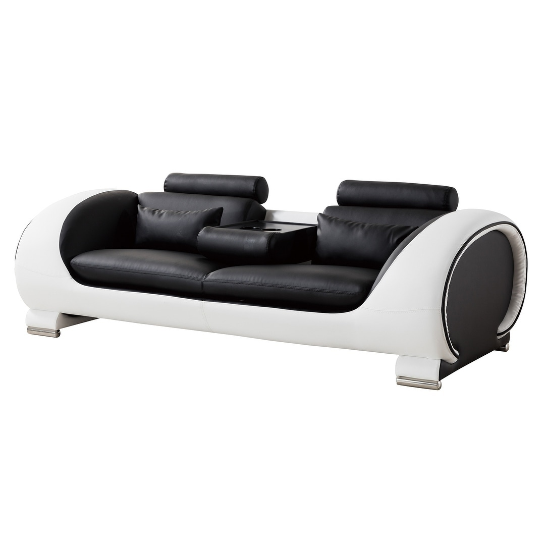 American Eagle Modern Black And White Two Tone Bonded Leather Sofa
