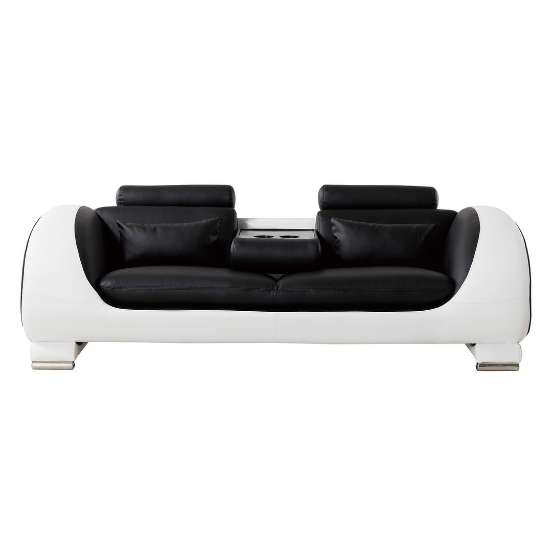 American Eagle Modern Black and White Two-tone Bonded Leather Sofa