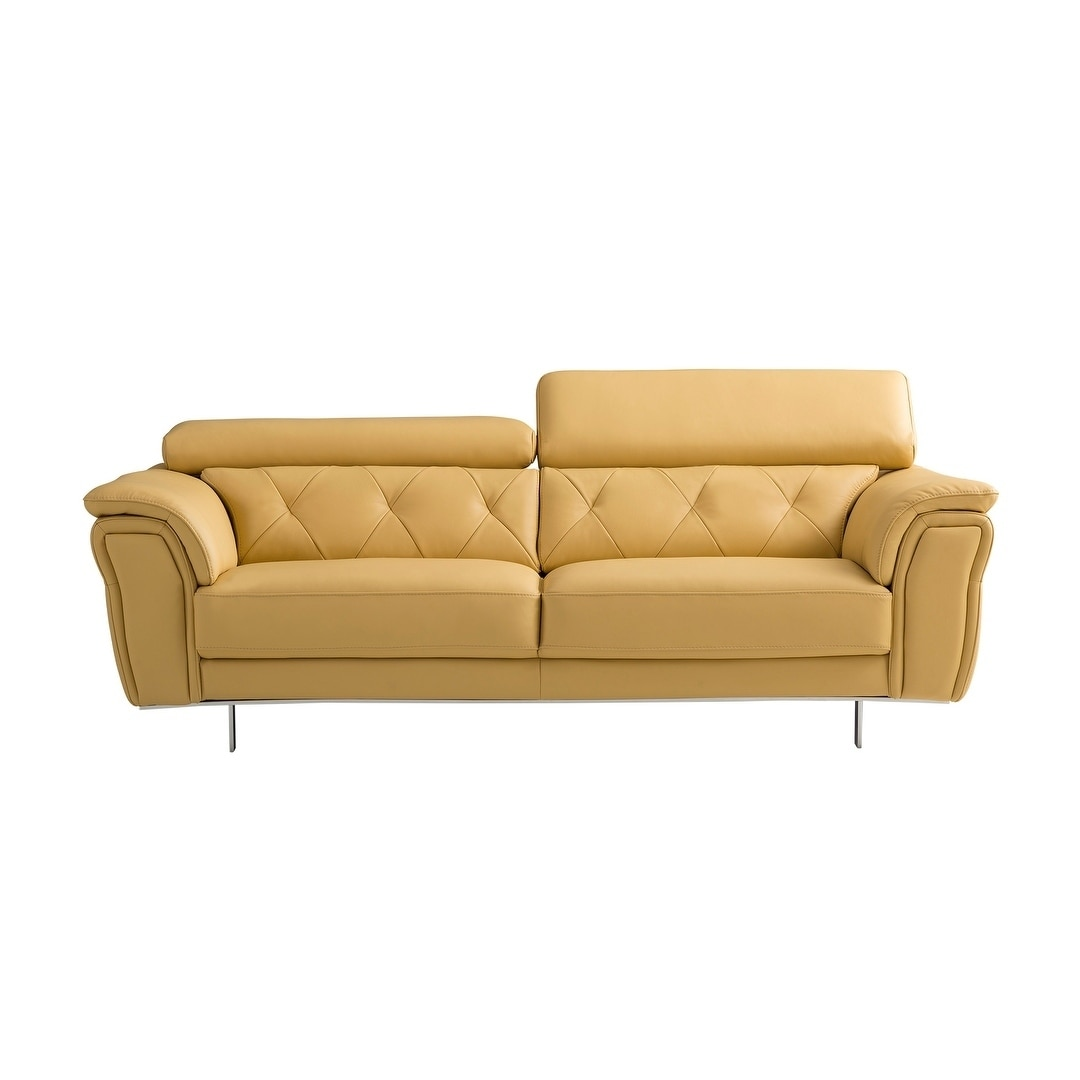 American Eagle Modern Yellow Italian Top-Grain Leather Sofa