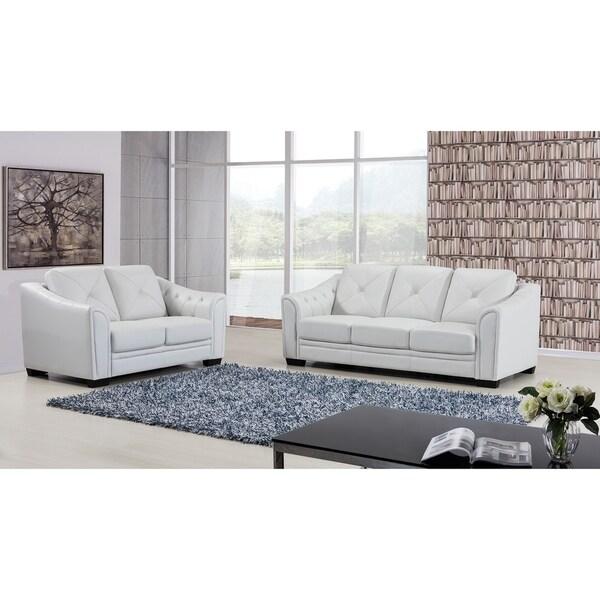 Shop Yellow Genuine Leather Sofa Set: Shop American Eagle Ash Grey Genuine Leather 2-piece