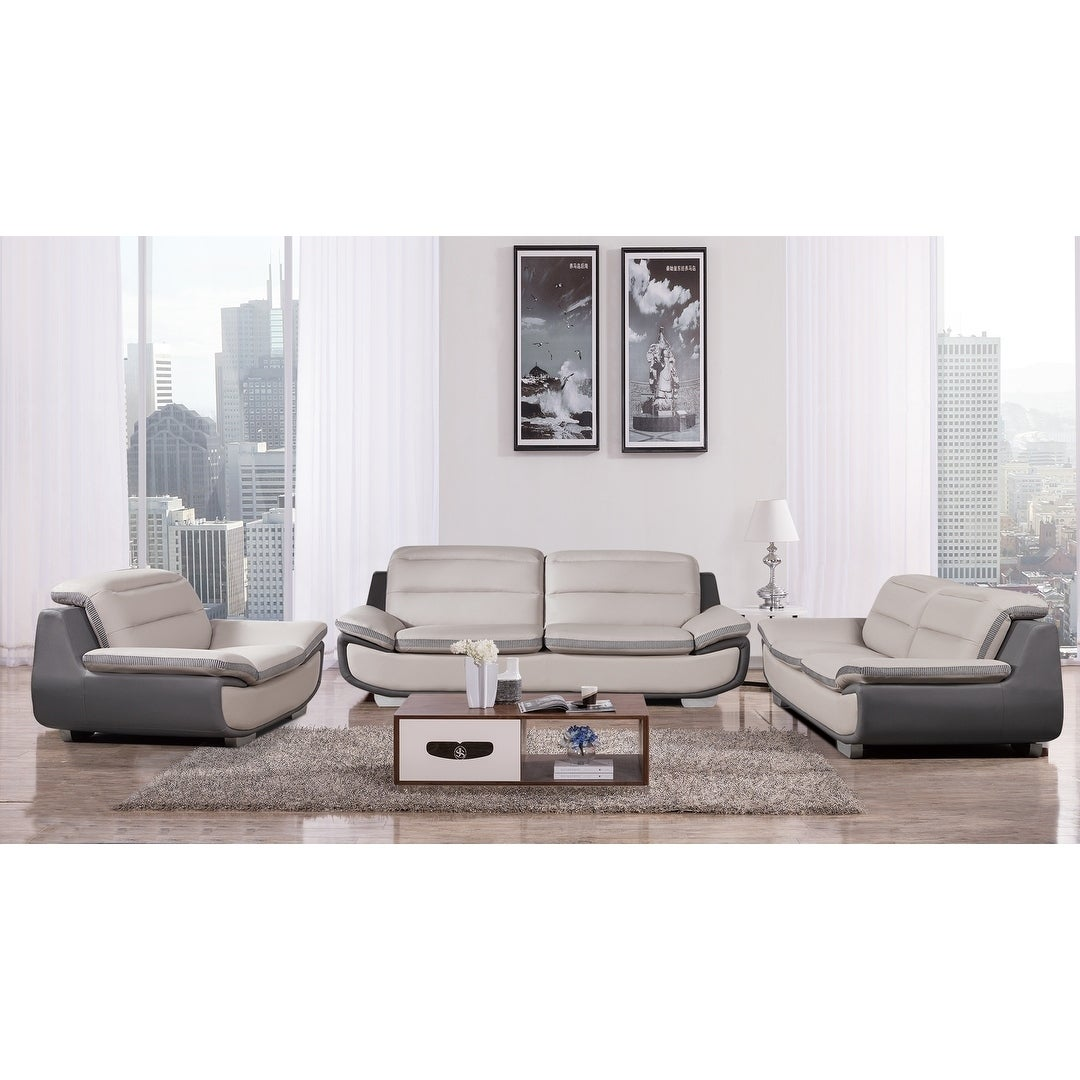 American Eagle Contemporary 3-piece Gray Bonded Leather Sofa Set