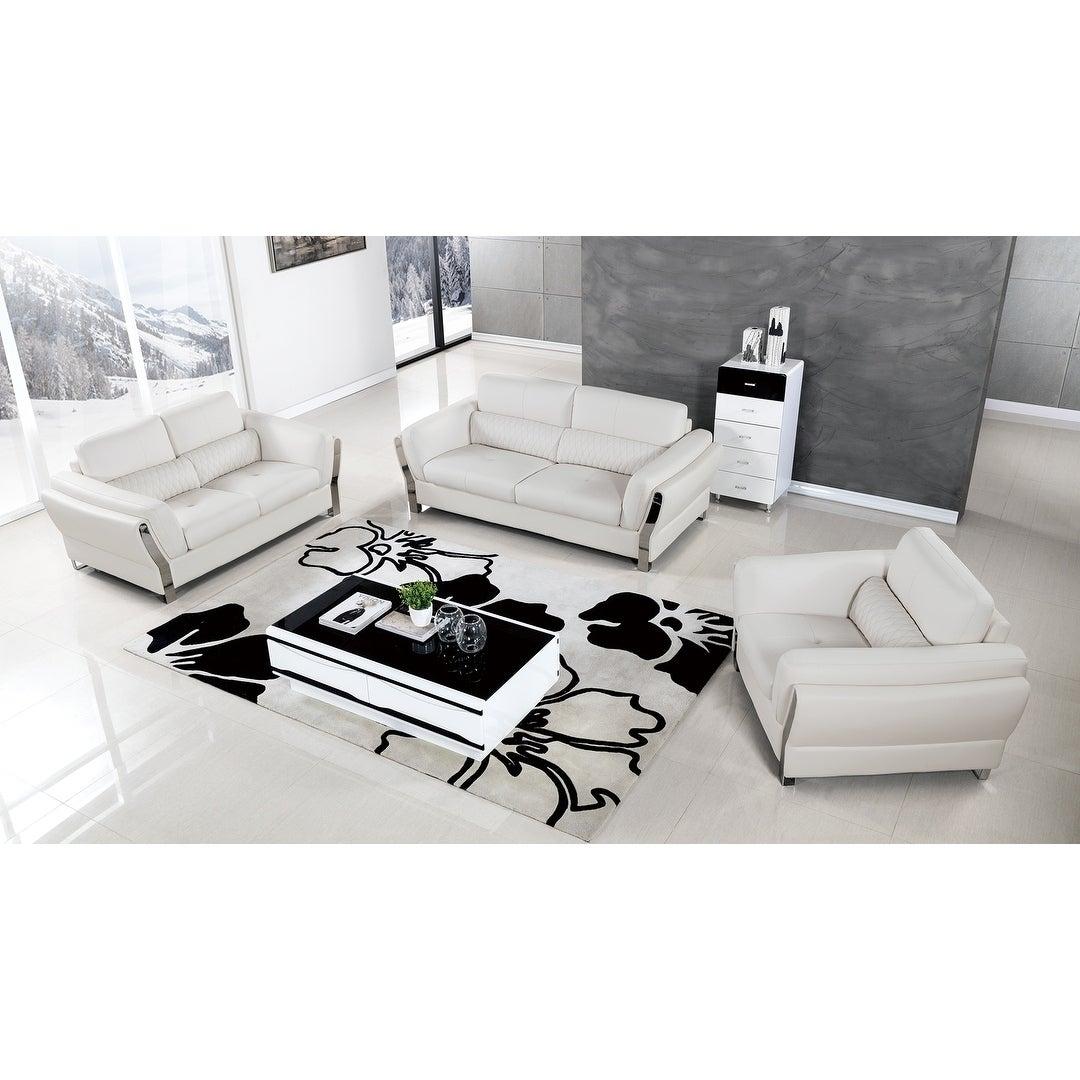 3 Piece White Bonded Leather Sofa