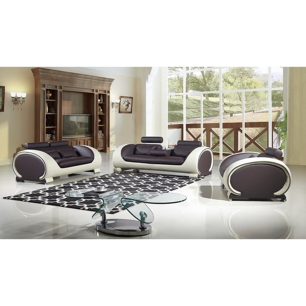 American Eagle 3 Piece Dark Brown And Cream Bonded Leather Sofa Set