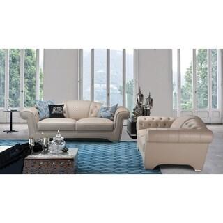 American Eagle Peach Italian Full Leather 2-piece Living Room Sofa Set