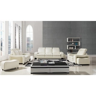 American Eagle Contemporary 6-piece Ivory Bonded Leather Sofa Set