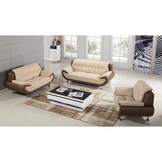 American Eagle Cream/ Taupe Two-tone Genuine Leather 3-piece Sofa Set