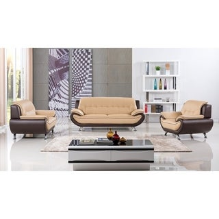 American Eagle Yellow/ Brown Two-tone Genuine Leather 3-piece Sofa Set