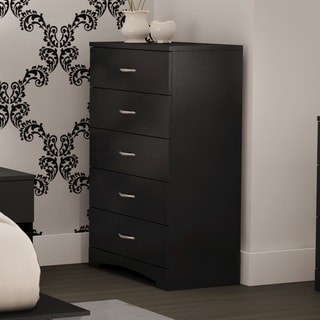South Shore Step One Pure Black and Beige 5-Drawer Chest & 5-Piece Drawer Organizers