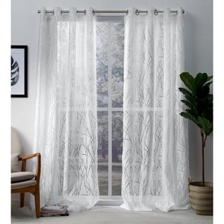 ATI Home Edinburgh Branch Burnout Sheer Grommet Top Curtain Panel Pair