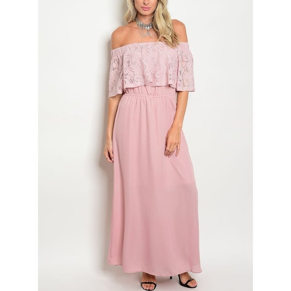 Shop JED Women s Mauve Lace Off Shoulder Elastic Waist Maxi Dress - Free  Shipping On Orders Over  45 - Overstock - 16931184 5ca478cb74d2