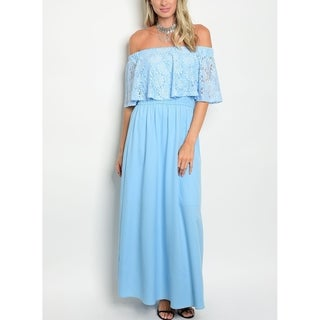 JED Women's Sky Blue Lace Off Shoulder Long Dress