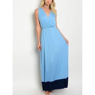 JED Women's Sleeveless V-neck Colorblock Long Dress