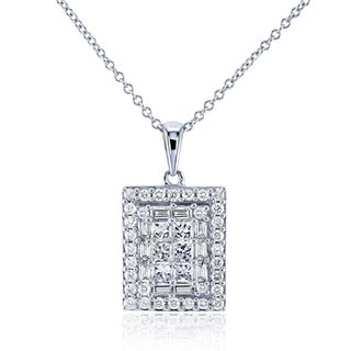Annello by Kobelli 14k White Gold 3/4ct TDW Multi-Diamond Pendant and 16in Cable Chain
