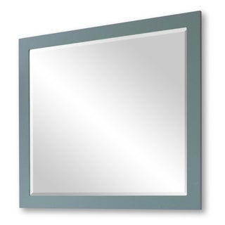 Infurniture Grey Wood/ Beveled Glass 32-inch Wide Rectangular Wall Mirror