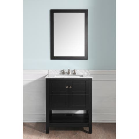ANZZI Montaigne 30 in. W x 22 in. D Rich Black Single Sink Vanity Set