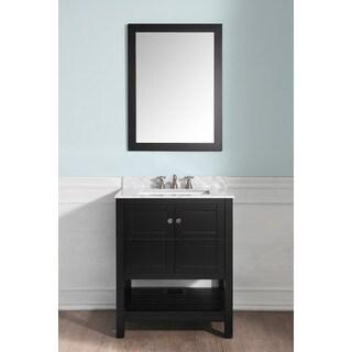 Anzzi Montaigne Espresso Wood/Carrara White Marble 30-inch x 22-inch Vanity, Basin Sink, and Mirror