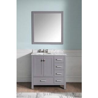 ANZZI Chateau 36 in. W x 22 in. D Grey Single Sink Vanity Set