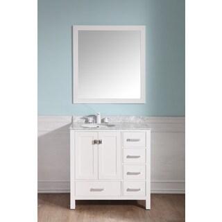 ANZZI Chateau 36 in. White Single Sink Vanity Set