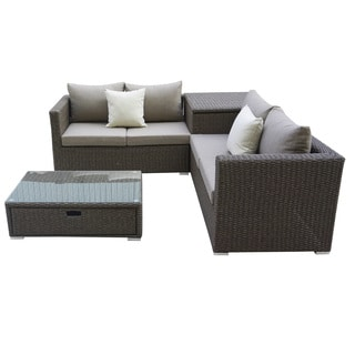 Pangea Oasis Brown Rattan 4 Piece Sectional With Storage Box