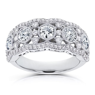 Annello by Kobelli 10k White Gold Moissanite and Diamond Anniversary Ring