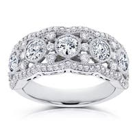 Annello by Kobelli 10k White Gold Moissanite and Diamond Anniversary Ring